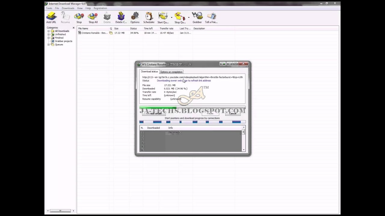 resume idm downloads which gets error hd 720p youtube