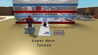 Roblox Super Hero Tycoon playing as spiderman