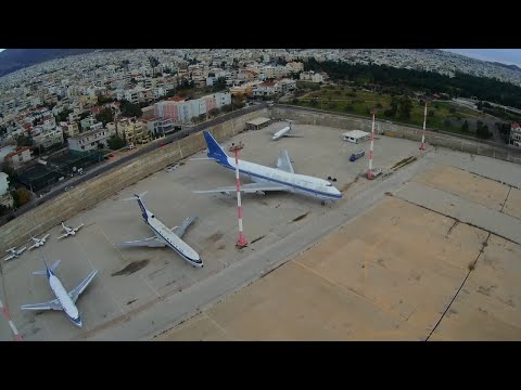 Drone flying over Abonded International Airport