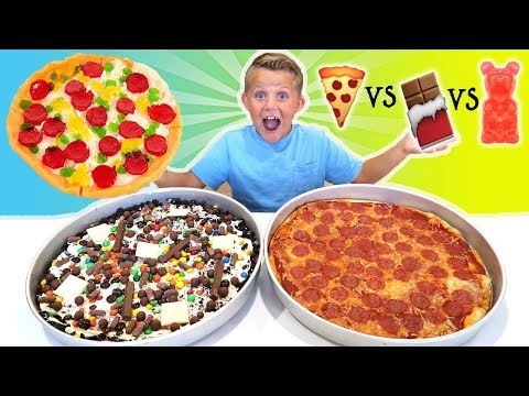 Thumbnail: Giant Gummy Food Pizza vs Giant Real Food Pizza vs Giant Chocolate Candy Pizza FOOD CHALLENGE!