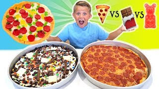 Giant Gummy Food Pizza vs Giant Real Food Pizza vs Giant Chocolate Candy Pizza FOOD CHALLENGE!