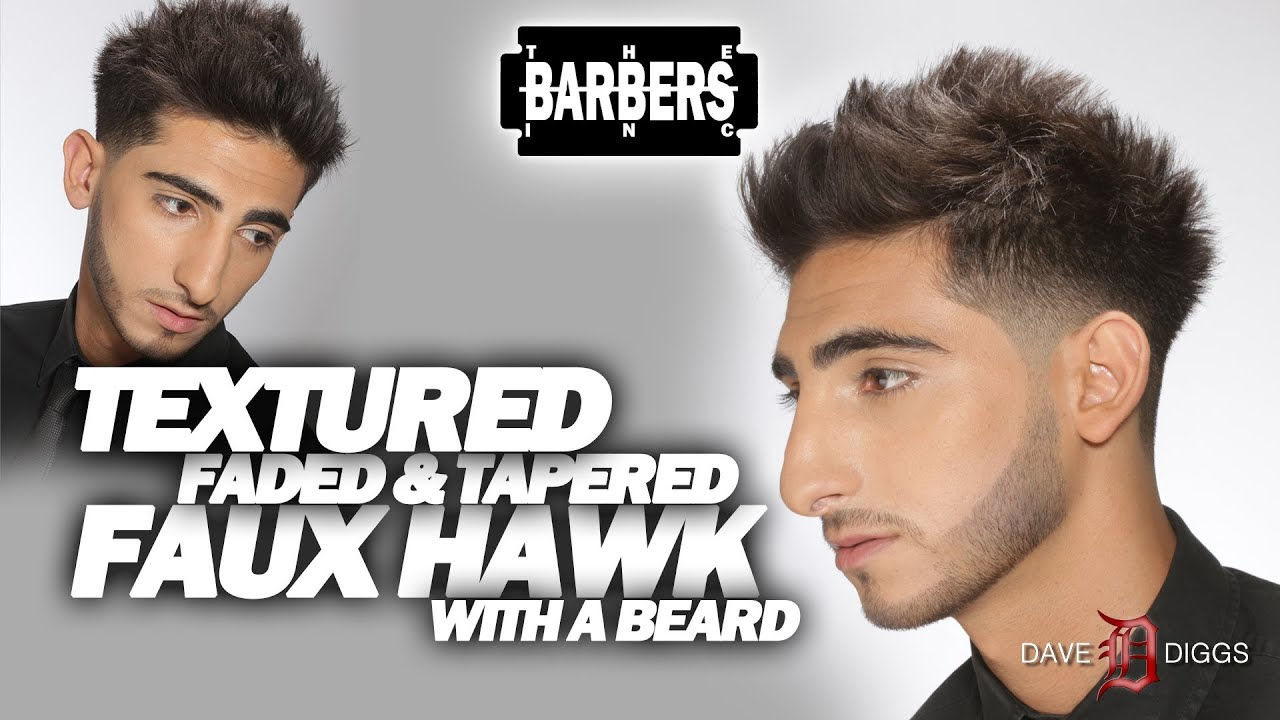 How To Faux Hawk Out Jersey S Faded And Tapered With Beard Men Haircut Tutorial You