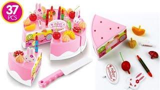Toy Pretend Play Cutting Velcro Birthday Cake Food For Children Plastic Set