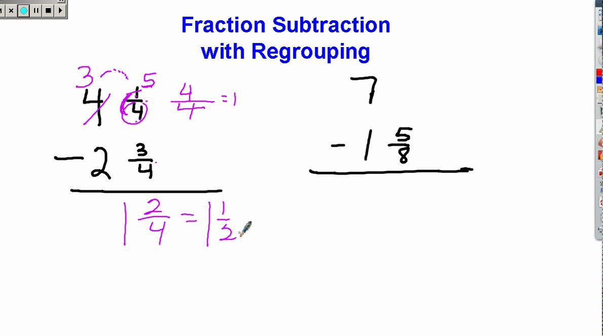 Fraction Subtraction With Regrouping
