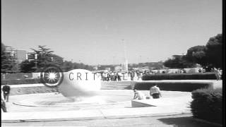 People on way to the stadium during Summer Olympics of 1960 in Rome, Italy. HD Stock Footage