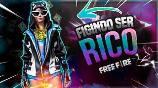 😎🤑FINGINDO SER RICO NO FREE FIRE BATTLEGROUNDS[TROLLAGEM]