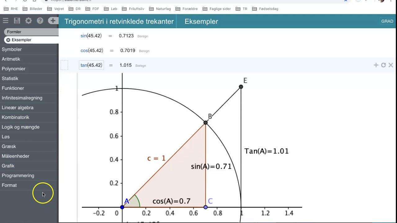 Geometri - Sinus, cosinus og tangens i retvinklede trekanter