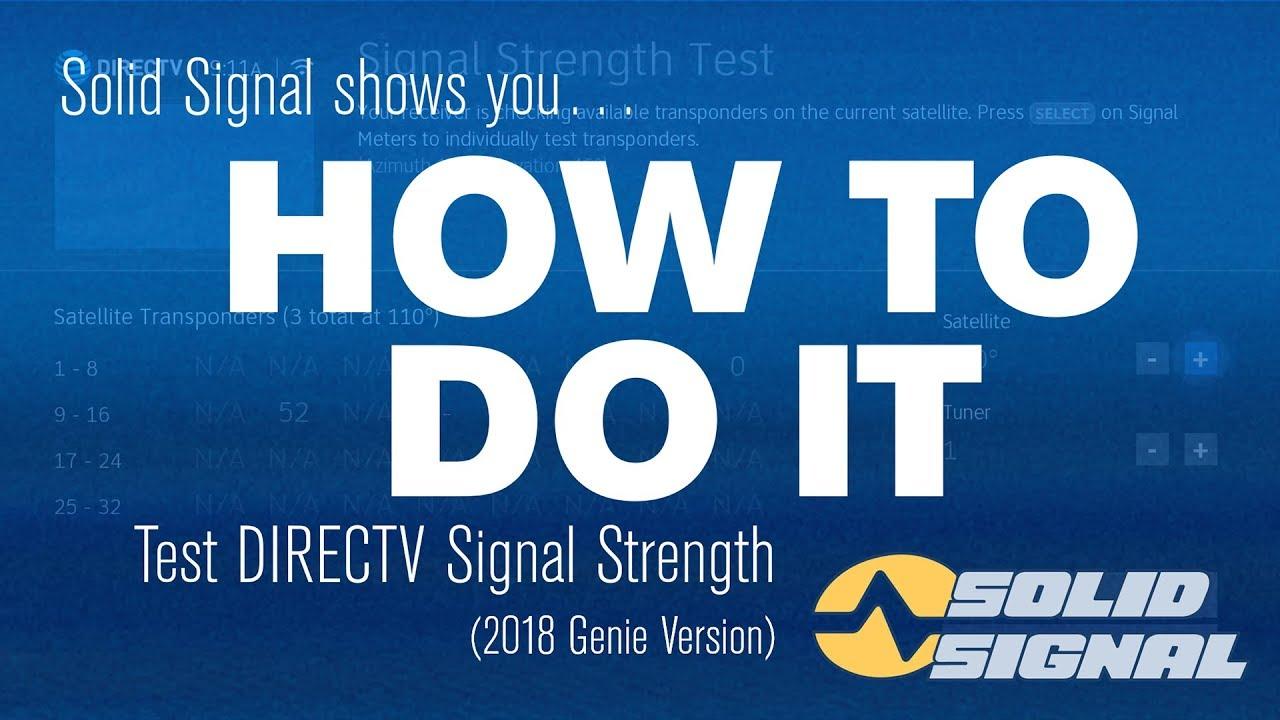 How To Do It Check Your Directv Signal Strength Genie Dvr Youtube Direct Tv Wiring Diagram Swim