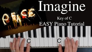 Imagine  -John Lennon (Key of C)//EASY Piano Tutorial screenshot 5