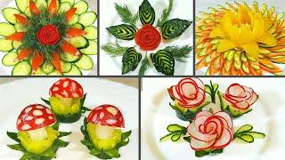 5 ЛУЧШИХ СПОСОБОВ Украшения Овощами! Как КРАСИВО нарезать овощи на Праздничный стол