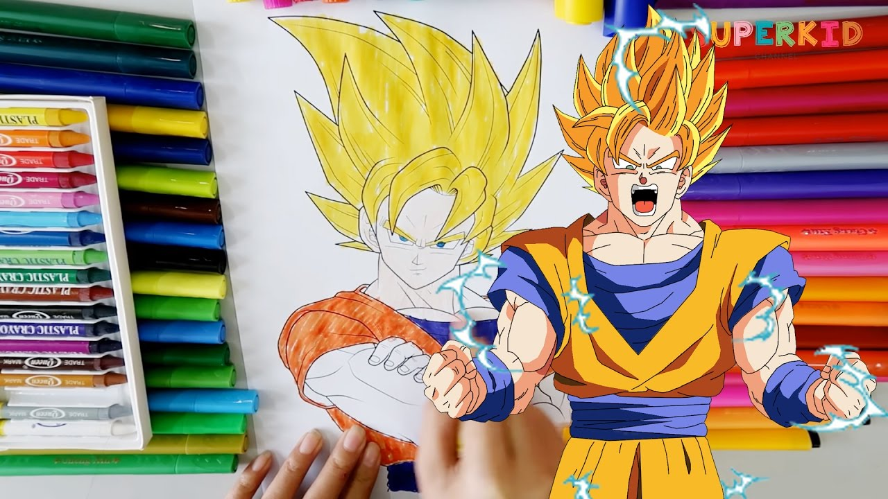 coloring songoku dragon ball coloring pages for kids youtube