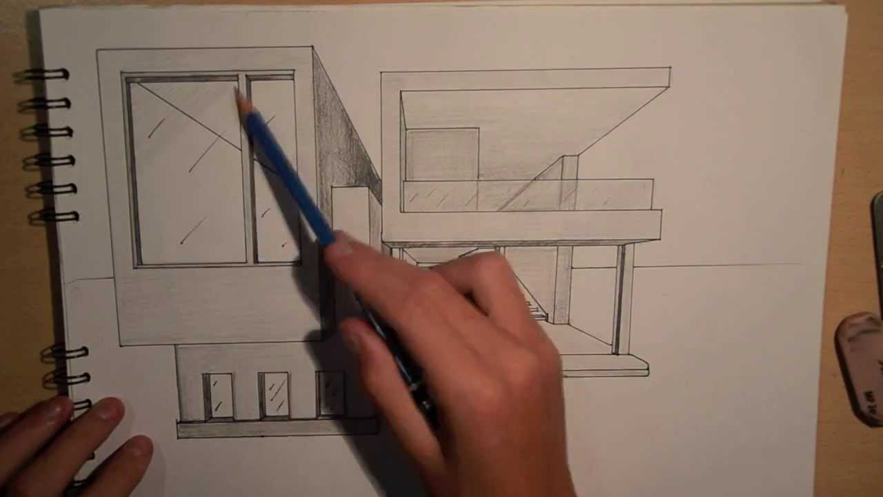 Architecture Design 2 Drawing A Modern House 1 Point Perspective