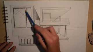 Architecture | Design #2: Drawing A Modern House (1-point Perspective)