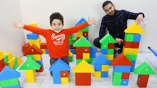Yusuf and Uncle play with Colored Blocks