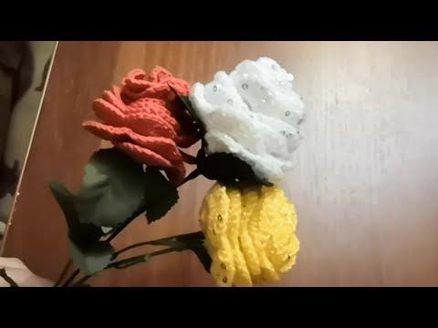 Розы крючком.  Вязаные розы.