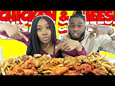 FUNNY CHICKEN & CHEESE SAUCE MUKBANG!   FRIED CHICKEN   FRENCH FRIES   CHEESE SAUCE   Eat & Laugh