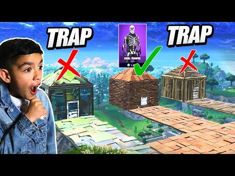Little Brother Tries To Guess The Right Room For A RARE SKULL TROOPER Skin In Fortnite!