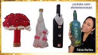 Garrafa decorada para noiva / 15 anos (debutante) – Como hacer botella decorada
