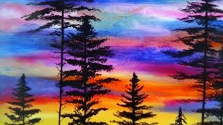 how to draw night sky in Forest by using soft pastel | ART 1O1