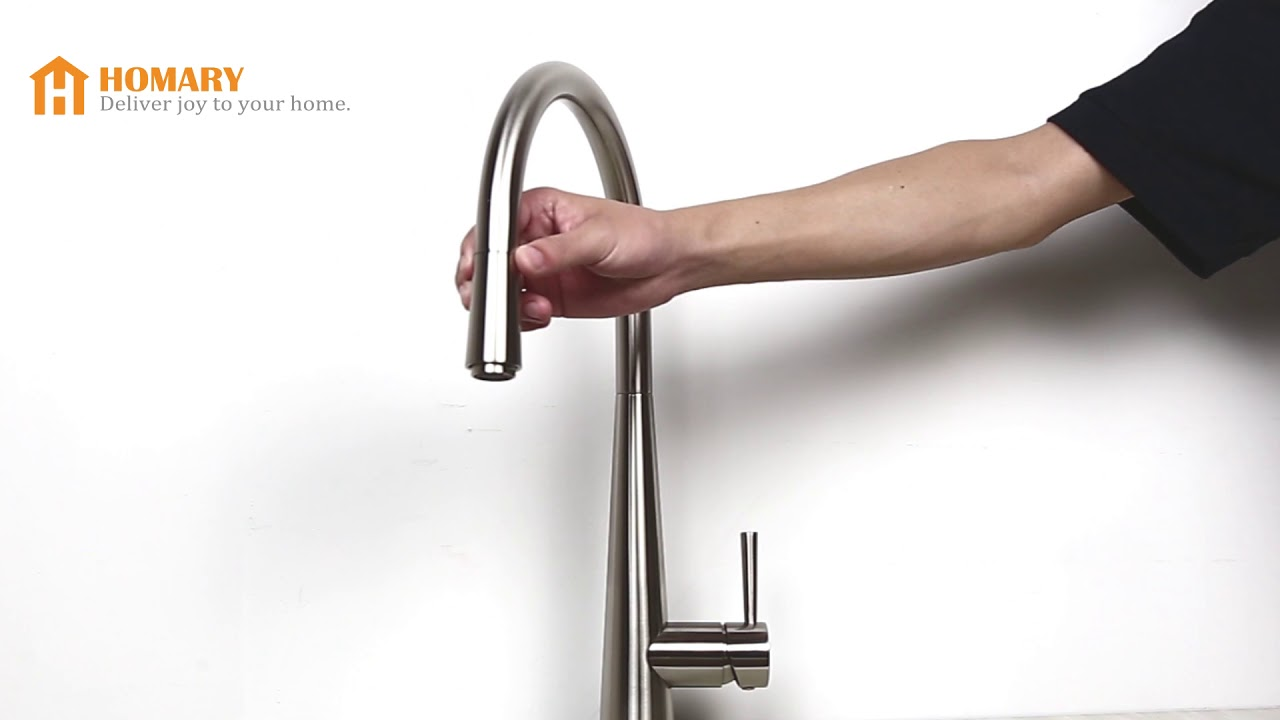 Opula Pull-Out Spray Kitchen Faucet Brushed Nickel Sink Mixer Tap ...
