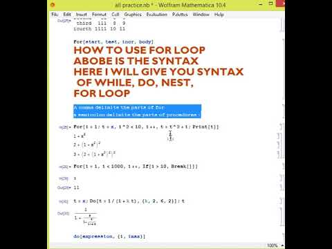 Mathematica for engineers lecture 6,FOR,WHILE,DO,NEST LOOPS SYNTAX