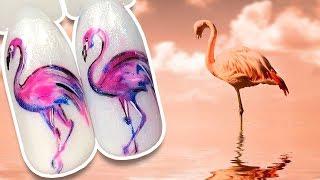 🐦 Розовый Фламинго 🐦 Летний Дизайн Ногтей гель лаком к Яркому Маникюру / Простой дизайн Пошаговый
