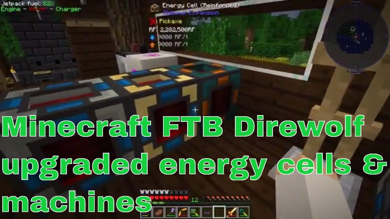 modded Minecraft - FTB Direwolf - upgrading energy cells and machines