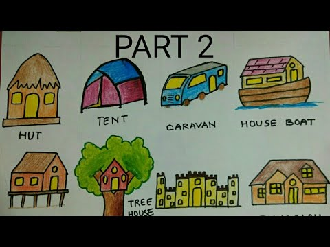 How to draw different types of houses (colouring) part 2 ...