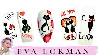 Дизайн Ногтей Роспись ногтей Уроки Рисунки на Ногтях Как рисовать кошек