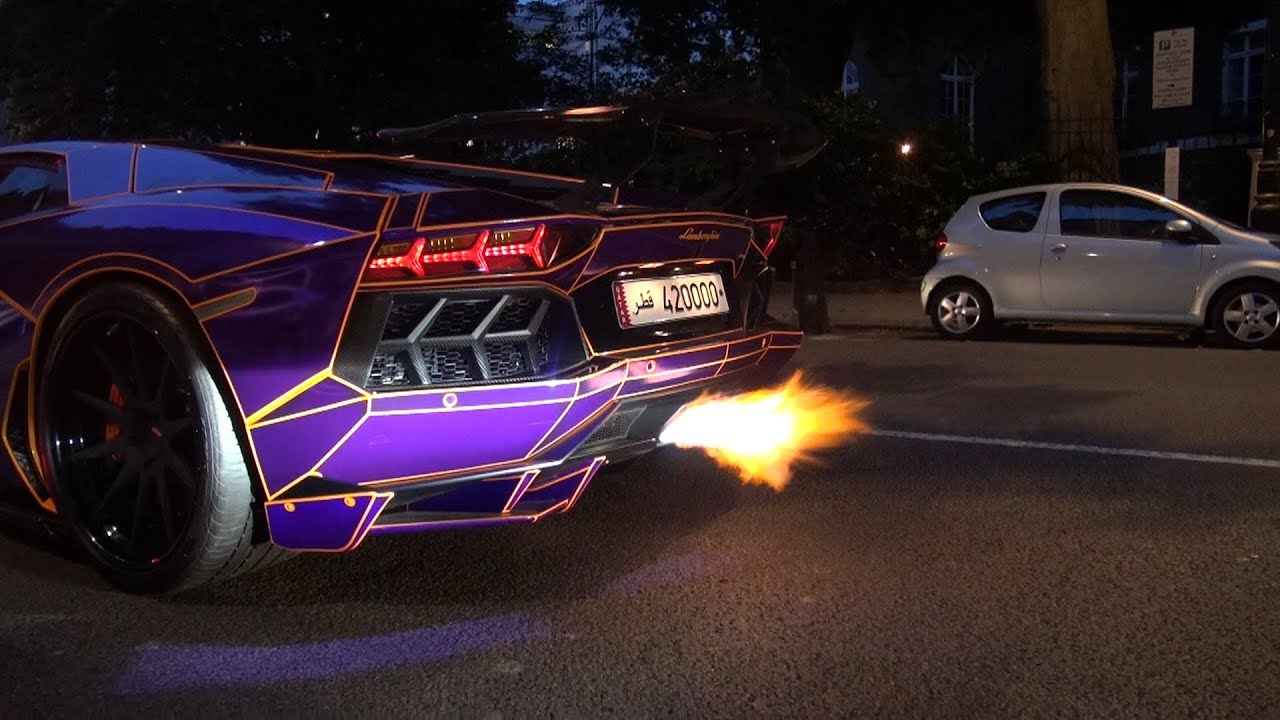 Insane Flames From Decatted Purple Lamborghini Aventador Quot Tron Edition Quot Youtube