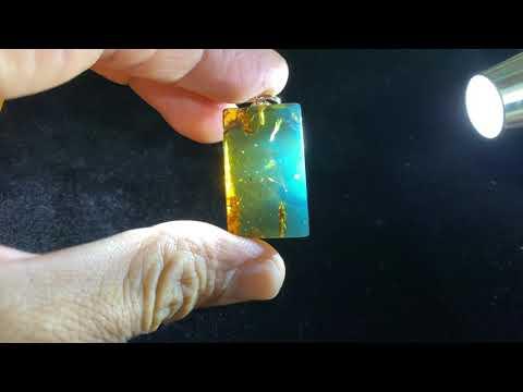 琥珀原礦-多明尼加藍珀無事牌