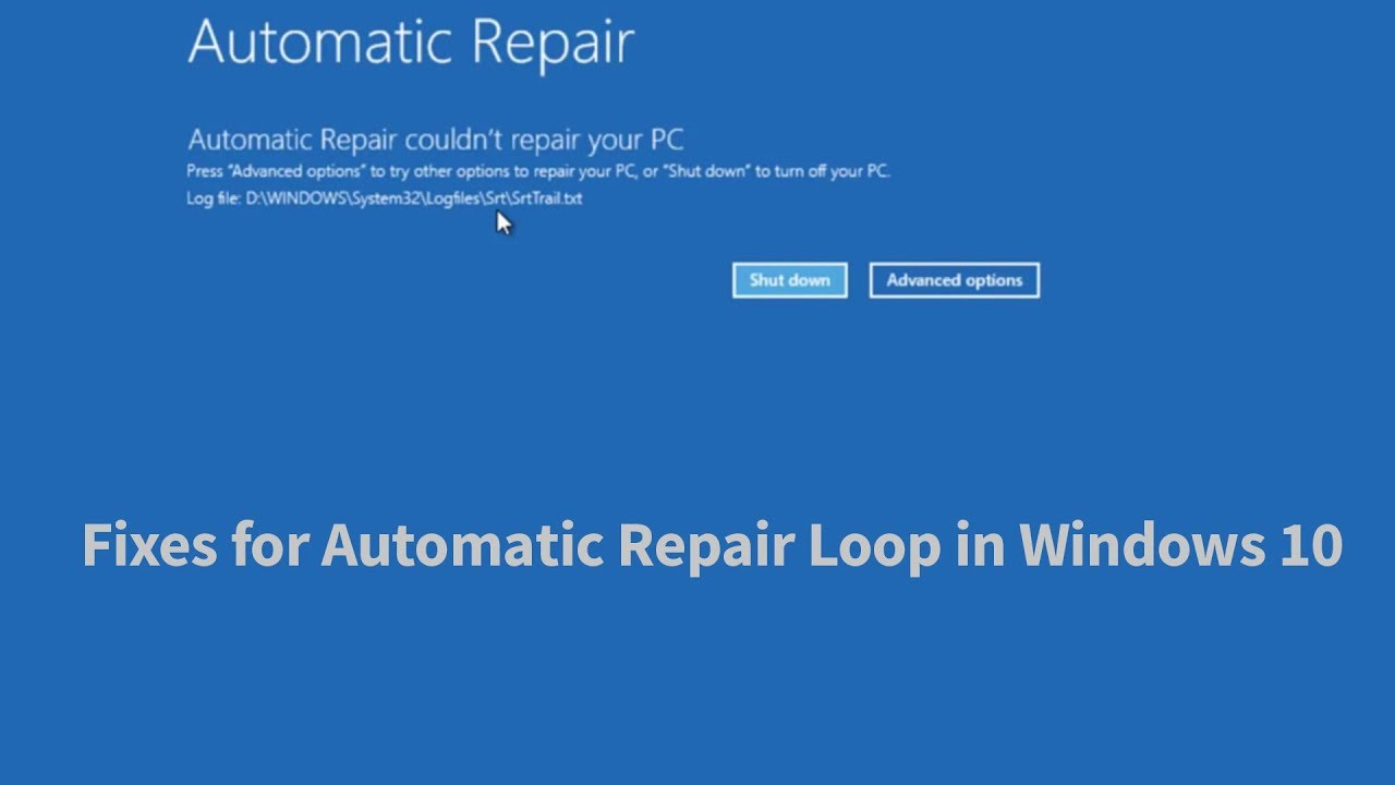 Automatic Repair Loop Fix Windows 10 3 Ways Youtube