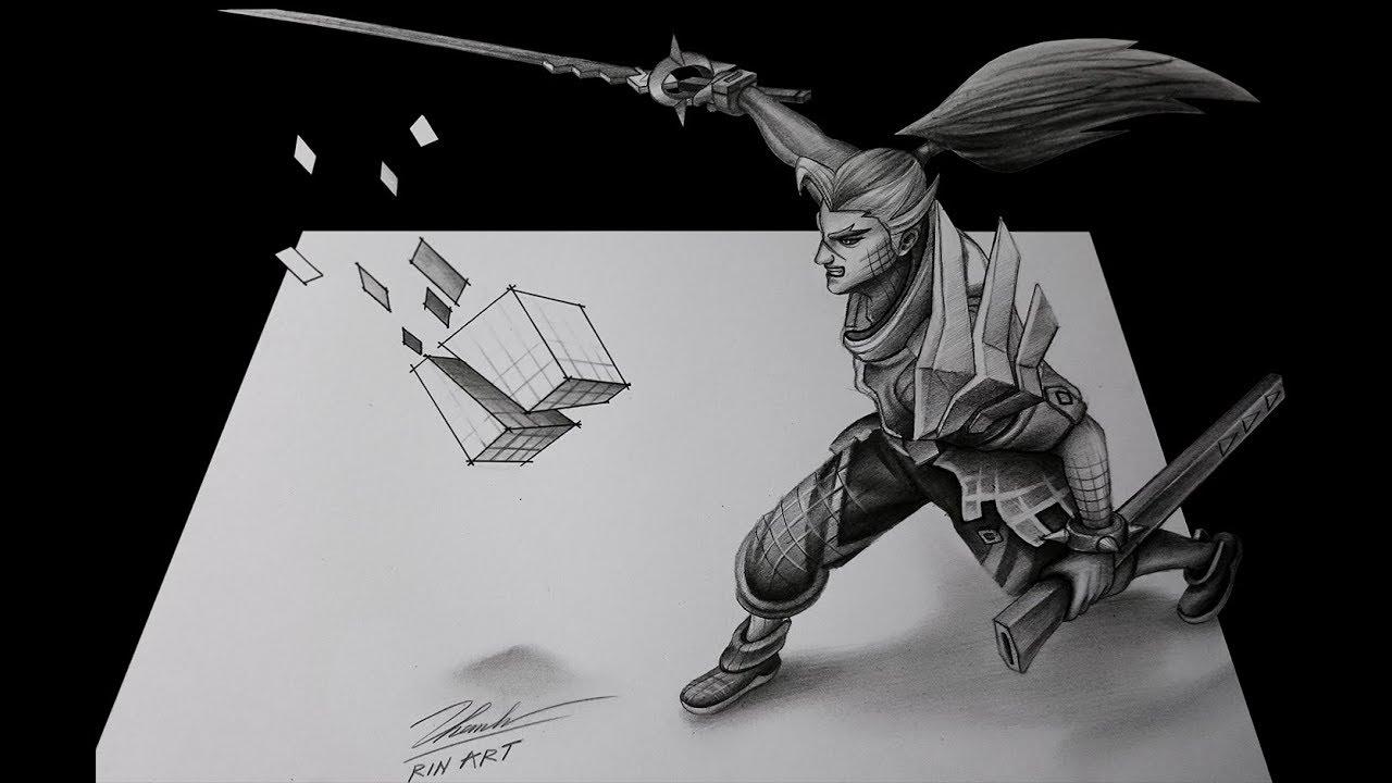 3D Art Pencil Drawing – Yasuo giả lập – Rin Art
