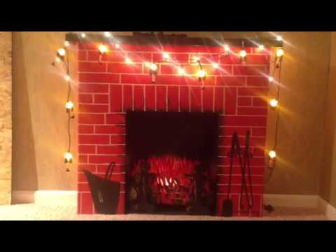 My cardboard fireplace adorned with leg lamp lights!
