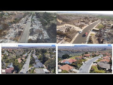 Los Angeles Fire -Aerial view,,BEFORE AND AFTER FIRE;Dec.2017,Southern California AFTERMATH