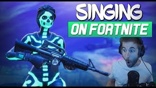 AMAZING REACTIONS (with facecam) - singing on FORTNITE
