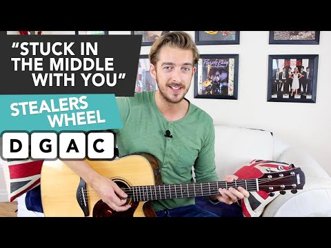 STUCK IN THE MIDDLE WITH YOU Guitar lesson tutorial - EASY CHORDS