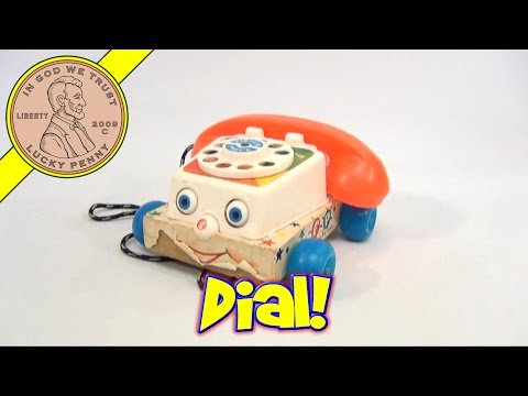 Vintage 1960's Fisher-Price Rolling Chatter Telephone Toy #747