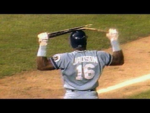 Bo Jackson BREAKS bat over his helmet!