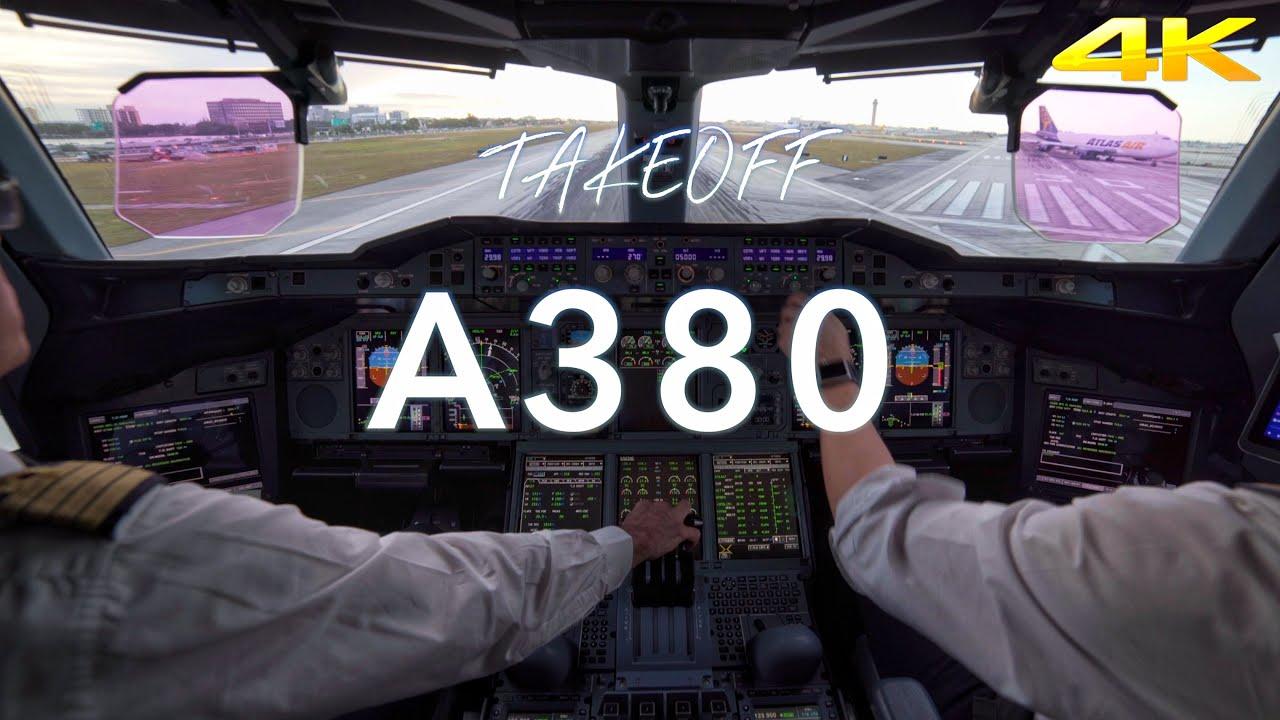 A380 TAKEOFF MIAMI 4K