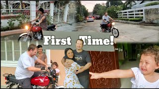 1st Time Riding Motoŗcycle in Philippines | Almost Crashed | The Armstrong Family