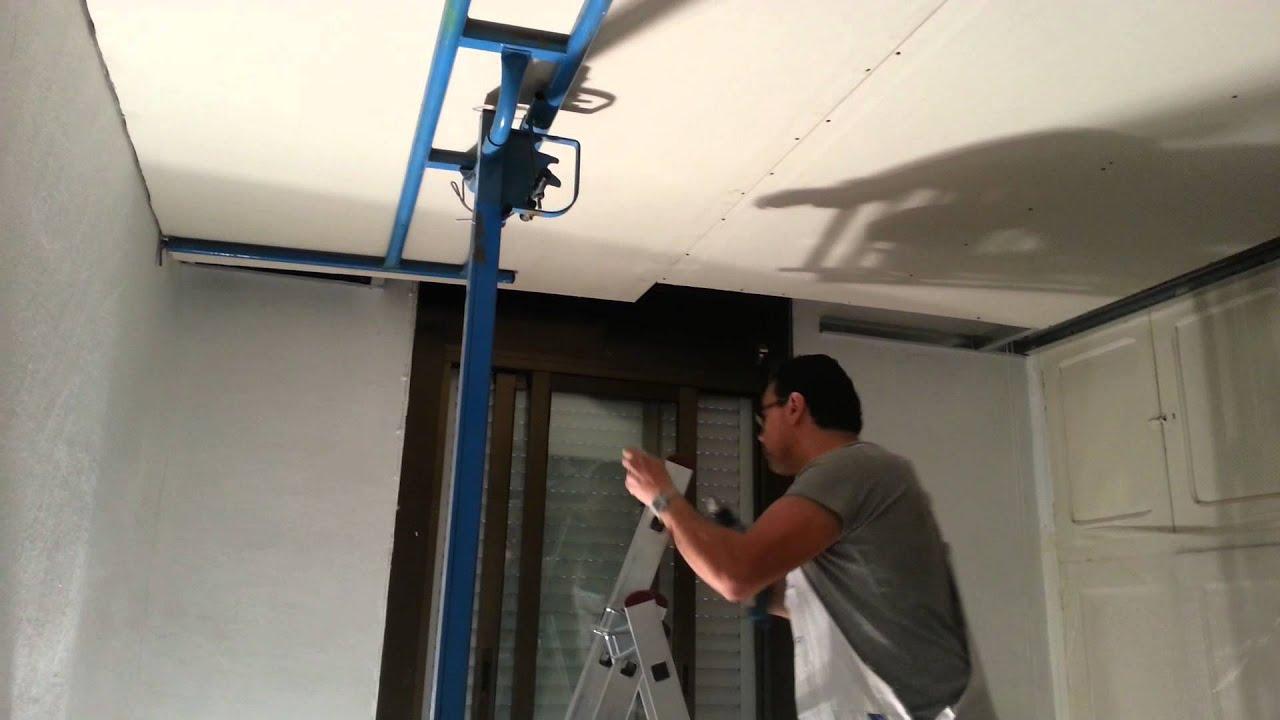 Instalacion de techo continuo con elevador de placas youtube - Elevador placas pladur ...