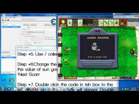 Plants vs. Zombies Hack with Cheat Engine 6.0/6.1 (Infinite sun/money, Instant refill)