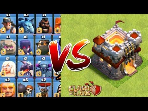 Clash of clans - TOUTES LES TROUPES DU JEU VS. HDV11 ! ( ATTAQUE TROLL )