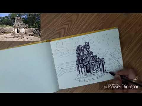 Ball point pen sketching | monument sketch | Sketching tutorial thumbnail
