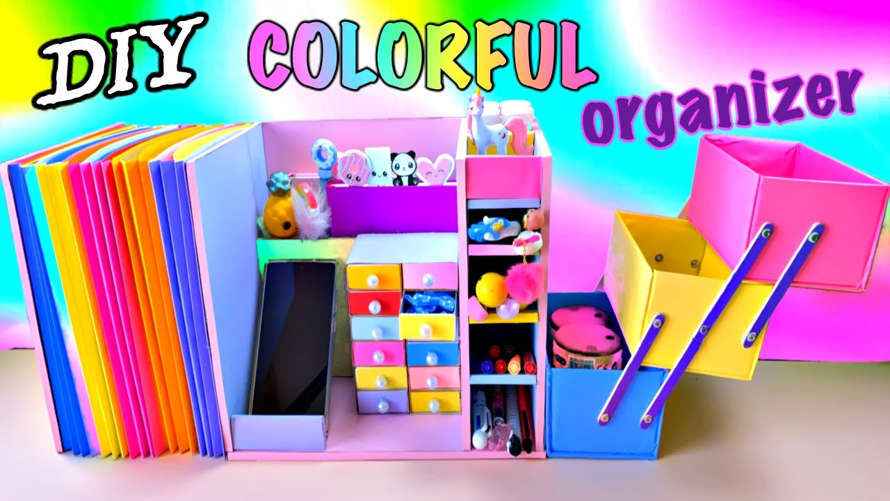 DIY COLORFUL ORGANIZER FROM CARDBOARD - Back To School Hacks and  Crafts
