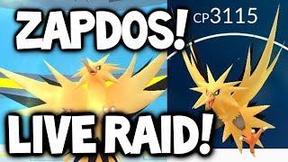 FIRST POKEMON GO LEGENDARY ZAPDOS RAID LIVE! (ZAPDOS POKEMON GO RAID)