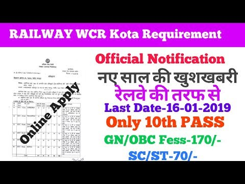Railway WCR Kota trade Requirement 2018 ,10th Pass, Form Apply Now