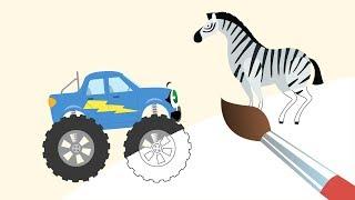 Монстр-трак БИБИКА - Жираф, Бегемот, Зебра, Лев -САВАННА - Мультик Раскраска с Бибикой про животных