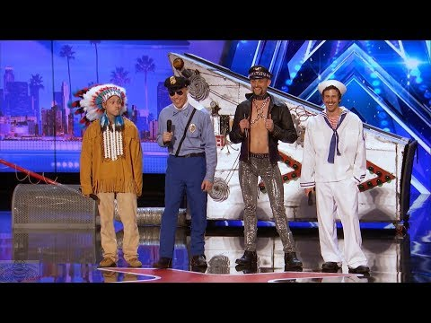 Americas Got Talent 2017 The Quiddlers Hilarious Village People Tribute Full Audition S12E06